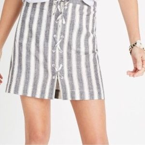 Madewell | NWOT | Striped Lace Up Skirt